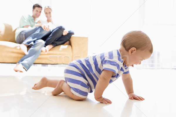 Pár nappali baba mosolyog férfi otthon Stock fotó © monkey_business