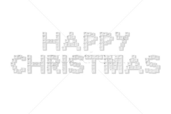 Hediye kutuları yazım mutlu Noel gümüş beyaz Stok fotoğraf © monkey_business