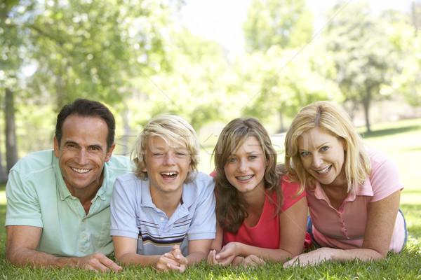Casal adolescente crianças grama família menina Foto stock © monkey_business