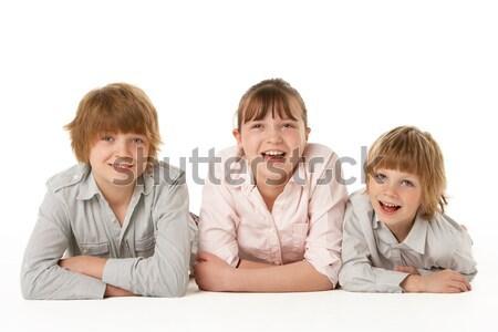 Сток-фото: студию · портрет · братья · сестра · любви · счастливым