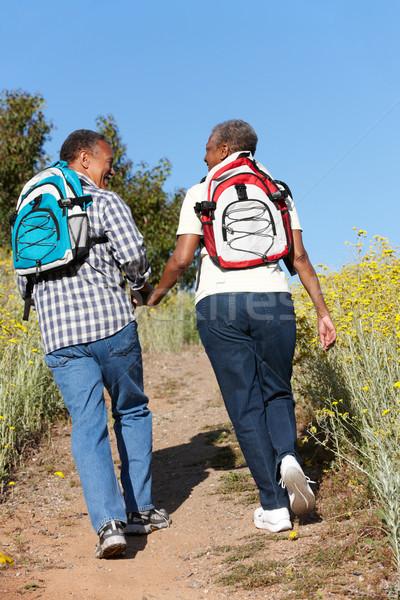 Casal de idosos país marcha feliz sol caminhada Foto stock © monkey_business