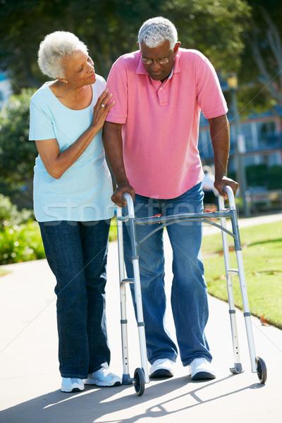 Idős nő segít férj sétál keret Stock fotó © monkey_business