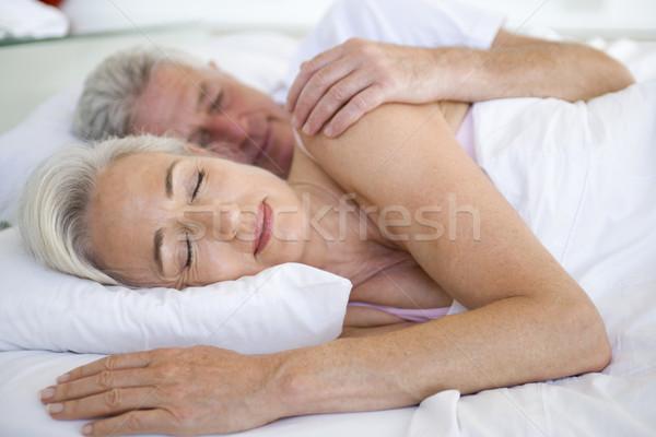 Stok fotoğraf: çift · yatak · birlikte · uyku · portre · yatak · odası