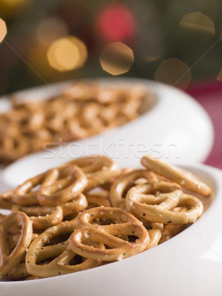 Tál sózott perecek étel főzés karácsony Stock fotó © monkey_business