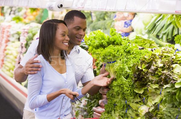 çift alışveriş üretmek bölüm süpermarket gıda Stok fotoğraf © monkey_business