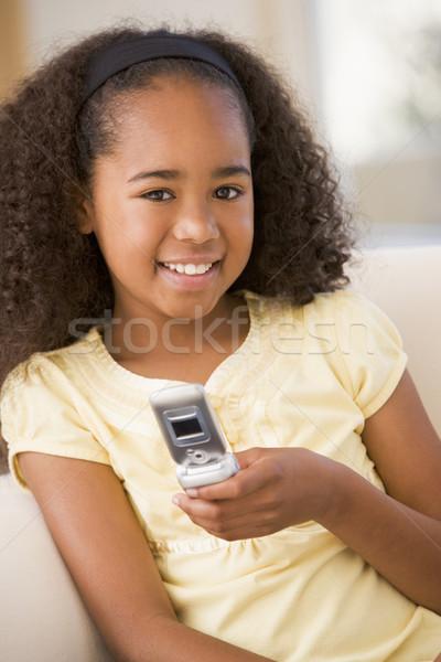 Stock fotó: Fiatal · lány · nappali · mobiltelefon · mosolyog · lány · gyerekek