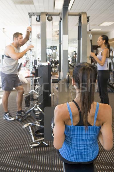 Photo stock: Groupe · de · gens · gymnase · femmes · fitness · saine