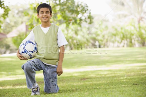 Stockfoto: Jongen · park · voetbal · naar