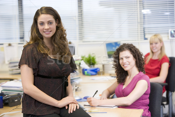 Nők dolgozik boldogan iroda üzlet toll Stock fotó © monkey_business