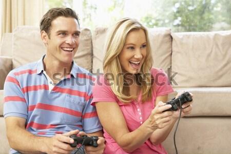 Syn ojca gry gra komputerowa sofa domu rodziny Zdjęcia stock © monkey_business
