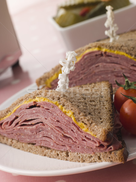 Pastrami on Rye Bread with Mustard Stock photo © monkey_business