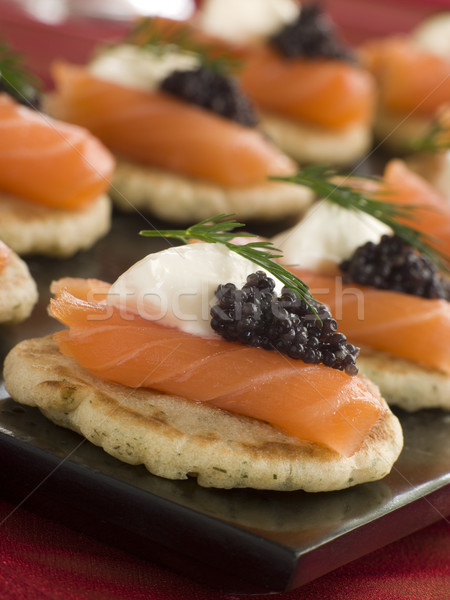 Smoked Salmon Blinis Canap s with Sour Cream and Caviar Stock photo © monkey_business