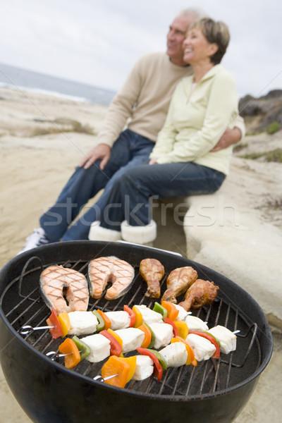 Stockfoto: Paar · koken · barbecue · gelukkig · achtergrond · plantaardige