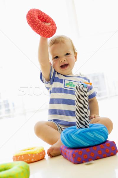 Baba bent játszik puha játék gyerekek Stock fotó © monkey_business