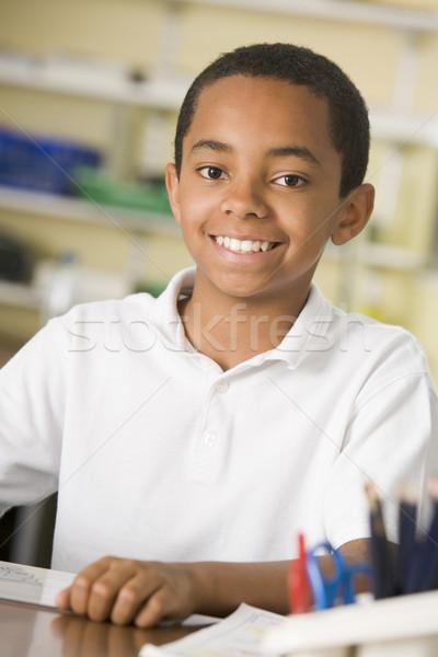 男子生徒 勉強 クラス 書く 肖像 教室 ストックフォト © monkey_business
