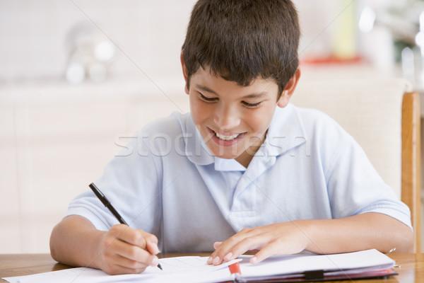 Ragazzo compiti per casa bambini bambino colore studiare Foto d'archivio © monkey_business