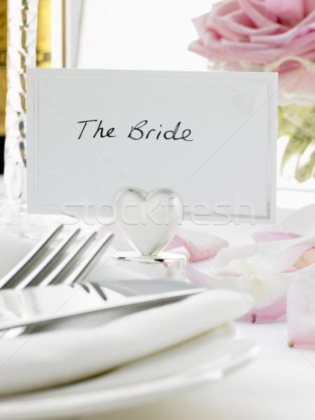 Stockfoto: Plaats · bruid · bruidegom · receptie · bloem