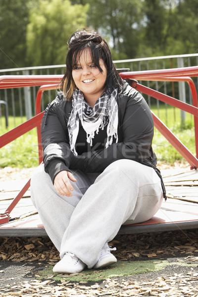 Mulher jovem sessão recreio mulher rua adolescente Foto stock © monkey_business