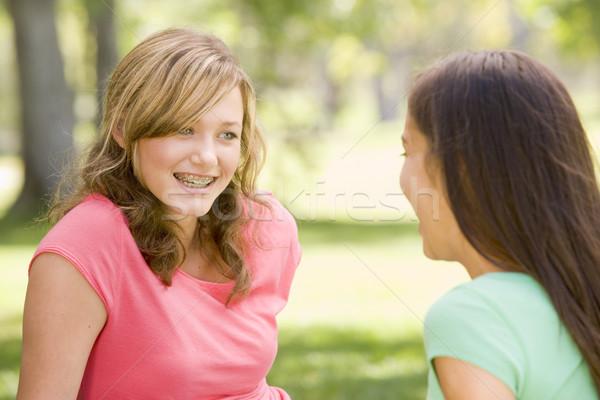 Stockfoto: Portret · tienermeisjes · gelukkig · vrienden · meisjes · tieners