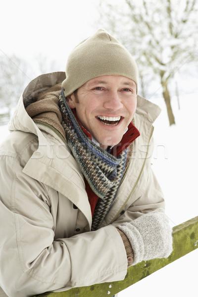 商業照片: 男子 · 常設 · 外 · 景觀 · 雪 · 冬天