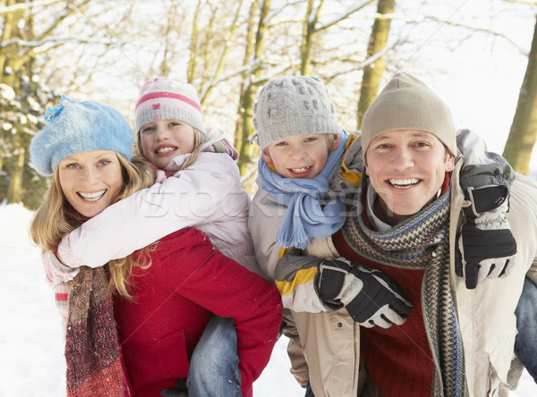 Family Having Fun Snowy Woodland Stock photo © monkey_business