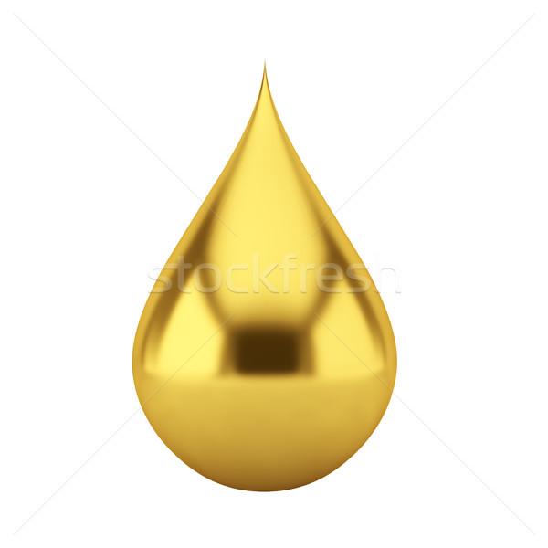 Olio drop illustrazione 3d bianco segno oro Foto d'archivio © montego