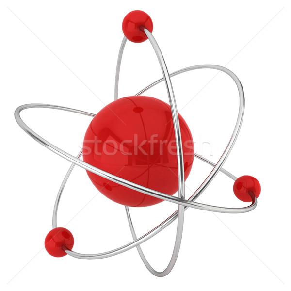 Modelo átomo ilustração 3d branco tecnologia ciência Foto stock © montego