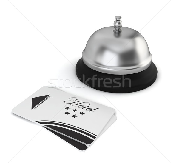 Cardkeys and bell on hotel reception Stock photo © montego