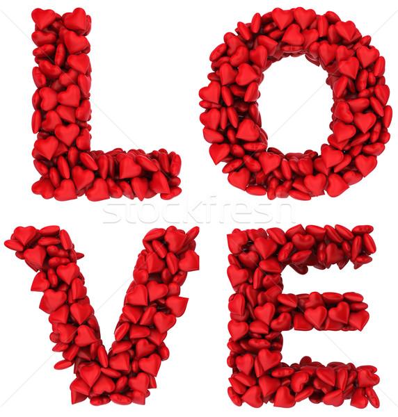 Zdjęcia stock: Miłości · podpisania · mały · serca · 3d · ilustracji · biały