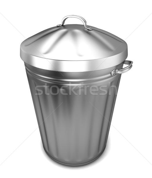 Cesto de lixo ilustração 3d isolado branco cidade metal Foto stock © montego