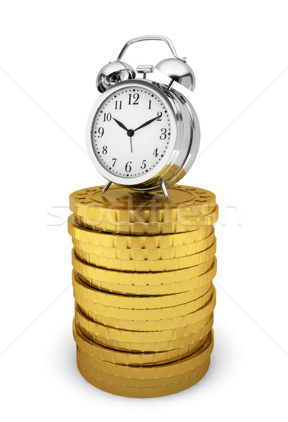 Alarm clock on stack of coins. Time is money concept Stock photo © montego