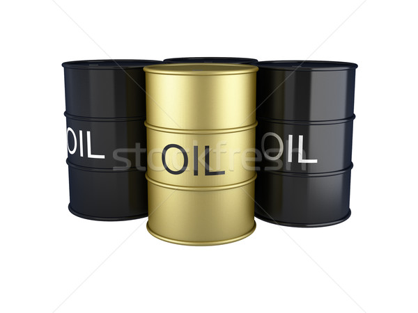3d render of black and gold oil barrels on white Stock photo © montego