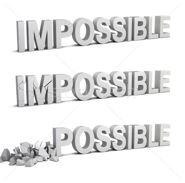 Unmöglich möglich 3D-Darstellung isoliert weiß Business Stock foto © montego
