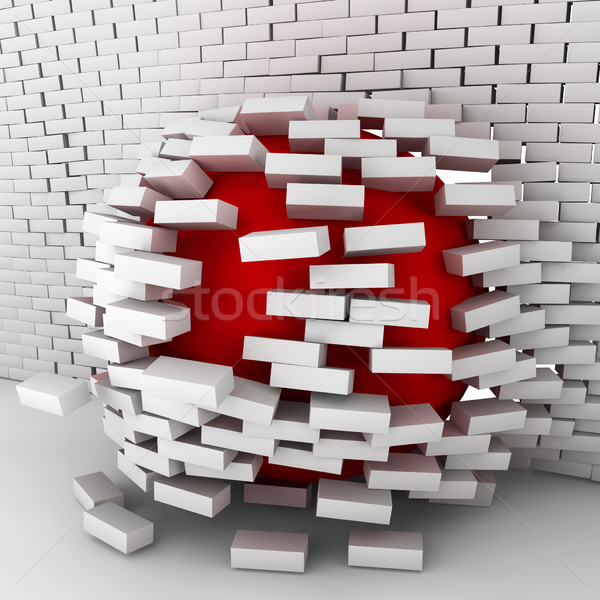 Red ball moving through brick wall Stock photo © montego