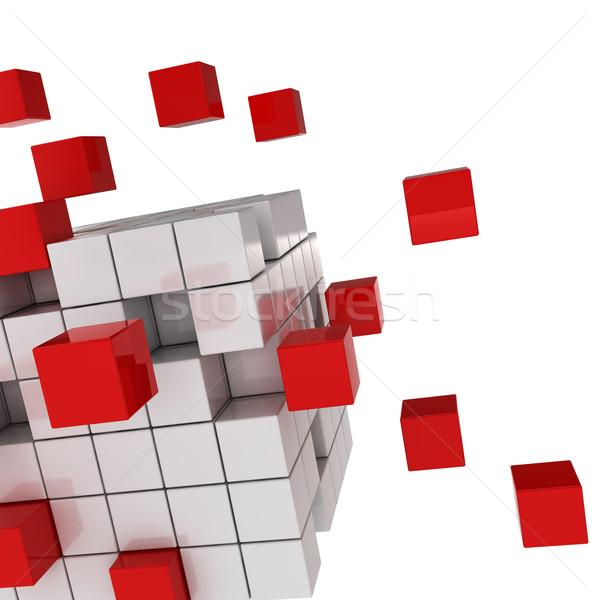 Cubo caos 3d render branco tecnologia fundo Foto stock © montego