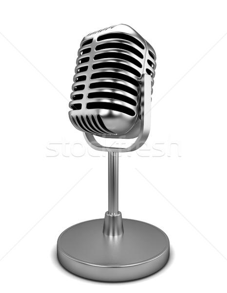 Retro microfono illustrazione 3d isolato bianco musica Foto d'archivio © montego