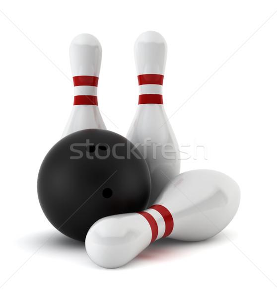 Tre bowling palla rendering 3d bianco sfondo Foto d'archivio © montego