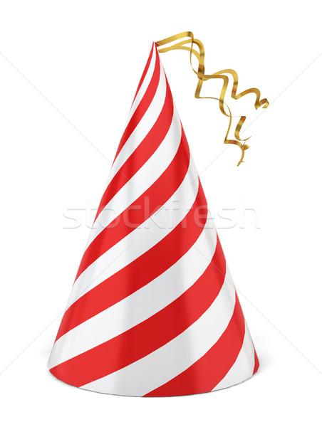 Party Hat illustrazione 3d bianco felice oro Foto d'archivio © montego
