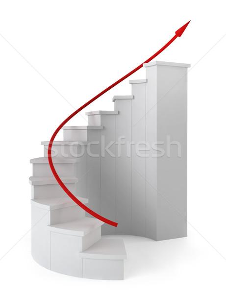 красный стрелка движущихся наверх 3d визуализации белый Сток-фото © montego