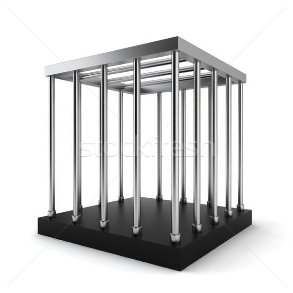 стали клетке 3d иллюстрации белый металл окна Сток-фото © montego