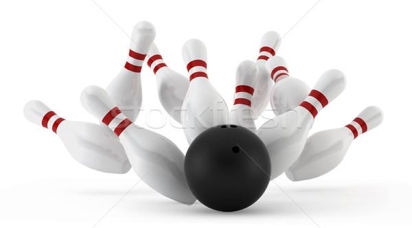Bowling 3d biały tle klub zabawy Zdjęcia stock © montego