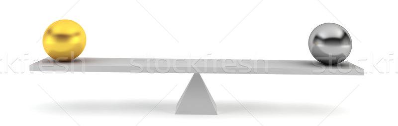 Kettő gömbök egyensúly 3d render fehér üzlet Stock fotó © montego