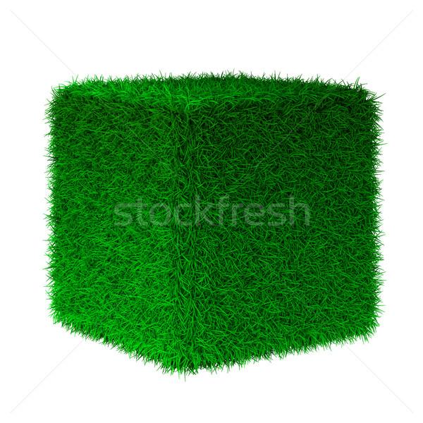 Foto stock: 3d · render · grama · cubo · natureza · cor · planta