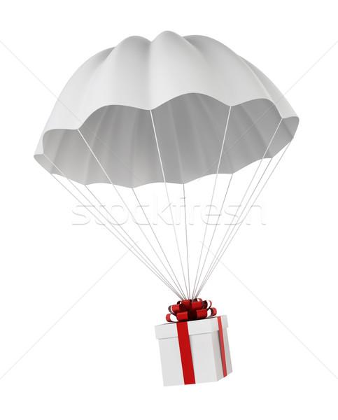 парашютом шкатулке 3d иллюстрации белый торговых окна Сток-фото © montego