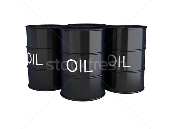 3d render of black oil barrels on white Stock photo © montego