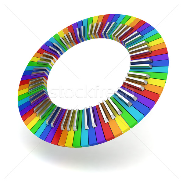 Stockfoto: Regenboog · piano · toetsenbord · cirkel · creativiteit · 3d · illustration