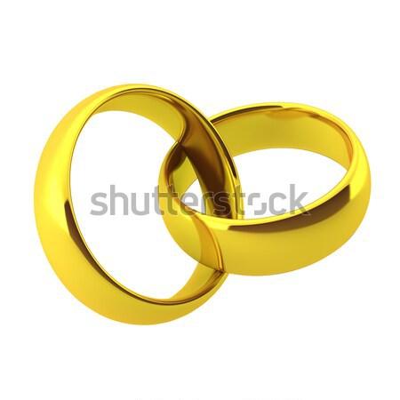 Rendering 3d due fedi nuziali wedding amore Foto d'archivio © montego
