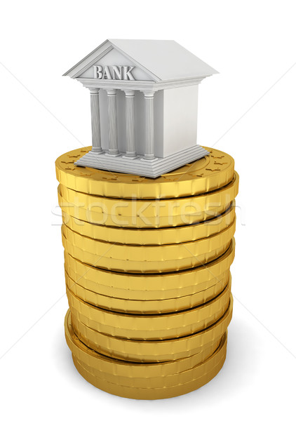 Bank on stack of coins Stock photo © montego