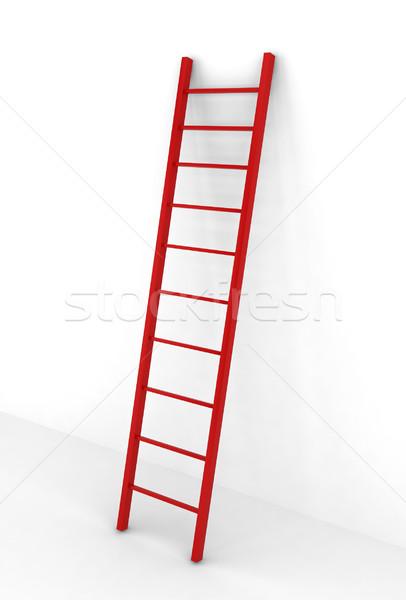 Rosso scala illustrazione 3d bianco casa abstract Foto d'archivio © montego