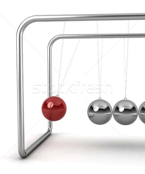 Bal slinger 3d render witte metaal tijd Stockfoto © montego